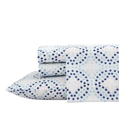 3-Piece White/Navy Antimicrobial Cotton Blend Twin XL Bedding Sheet Set, Circle Dots