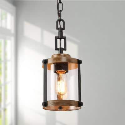 Corta 1-Light Black Modern Farmhouse Hanging Pendant Island Ceiling Light with Cylinder Seeded Glass Faux Wood Accent