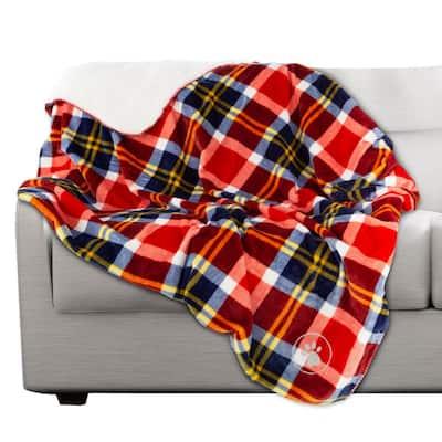 50 x 60 in. Red Plaid Machine Washable Waterproof Pet Blanket