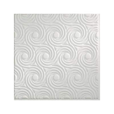 Cyclone 2 ft. x 2 ft. Glue Up Vinyl Ceiling Tile in Matte White (20 sq. ft.)