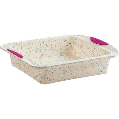 8 in. x 8 in. Square Cake Structure Silicone Confetti Fuchsia Baking Pan