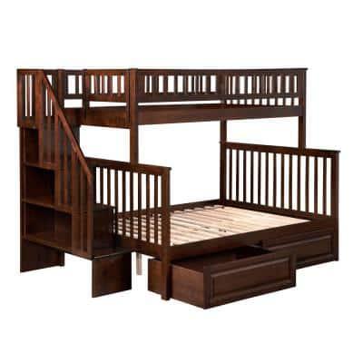 Woodland Staircase Bunk Bed Twin over Full with 2 Raised Panel Bed Drawers in Walnut