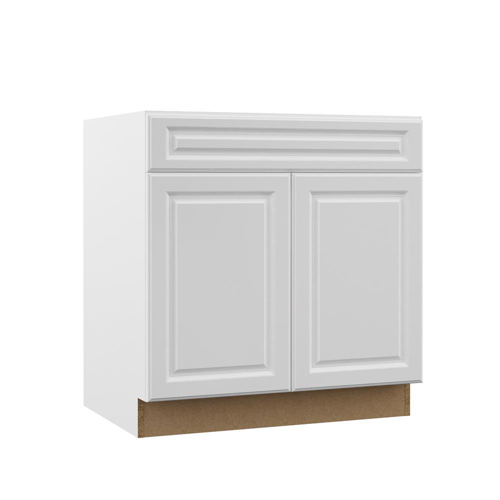 Designer Series Elgin Assembled 33x34.5x23.75 in. Sink Base Kitchen Cabinet in White