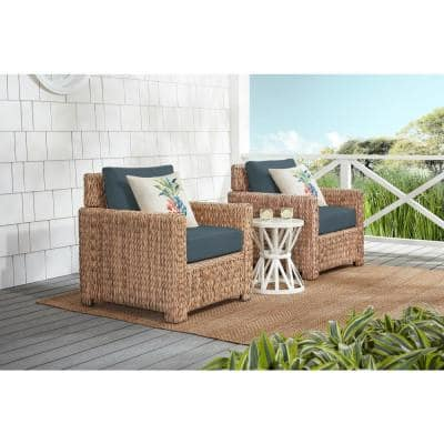 Laguna Point Natural Tan Wicker Outdoor Patio Stationary Lounge Chair with Sunbrella Denim Blue Cushions (2-Pack)