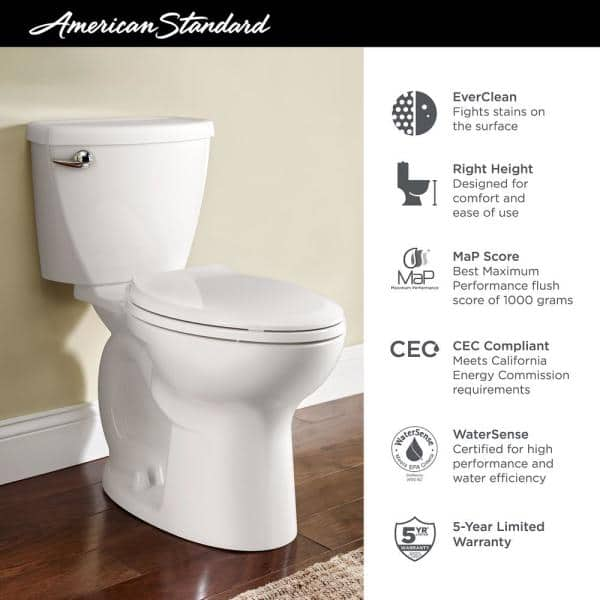 White White American Standard Cadet 3 Compact Right Height Elongated Flowise Two-Piece High Efficiency Toilet with 12-Inch Rough-In