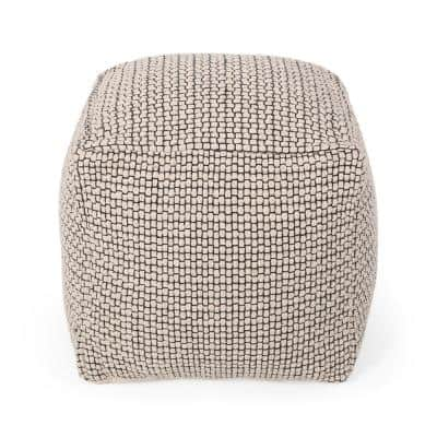 Bancker Natural and Black Fabric Cube Pouf