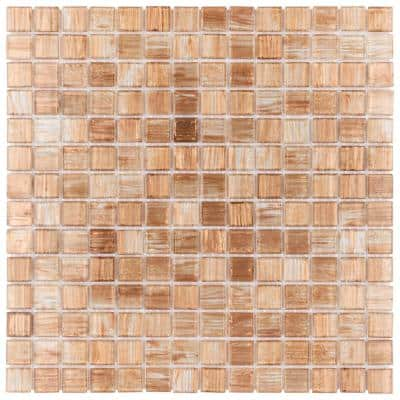 Coppa Tan Gold 12 in. x 12 in. Glass Mosaic Tile (13.27 sq. ft. / Case)