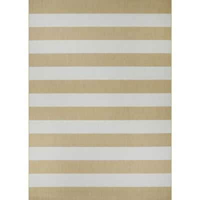 Afuera Yacht Club Butterscotch-Ivory 8 ft. x 11 ft. Indoor/Outdoor Area Rug