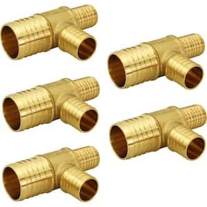 3/4 in. x 1/2 in. x 1/2 in. Brass PEX Barb Reducing Tee Pipe Fittings (5-Pack)