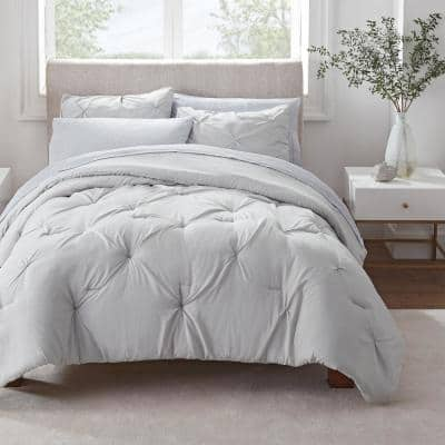 Simply Clean 5-Piece Silver Grey Pleated Microfiber Twin/Twin XL Bed in a Bag Set