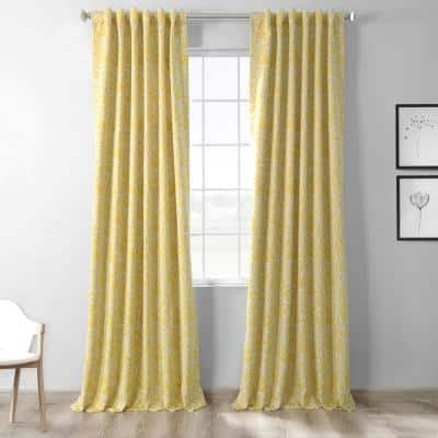 Abstract Misted Yellow Floral Blackout Curtain - 50 in. W x 84 in. L