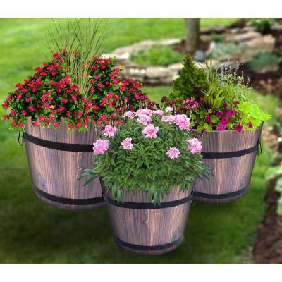 Set of 3 Wooden Whiskey Barrel Planters