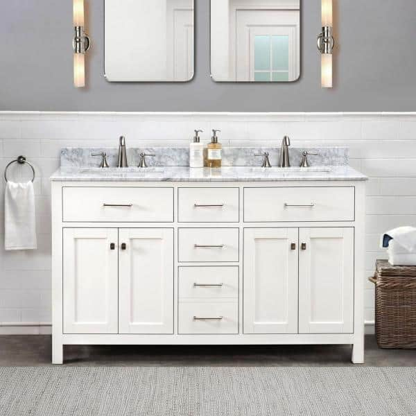 Sunjoy Cooper White 60 In W X 22 05 In D X 35 75 In H Shaker Style Bathroom Vanity With Marble Vanity Top And Double Basin B301007701 The Home Depot