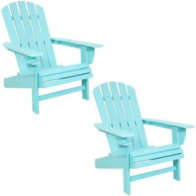 All-Weather Turquoise Outdoor HDPE Recycled Plastic Adirondack Chair with Drink Holder (Set of 2)