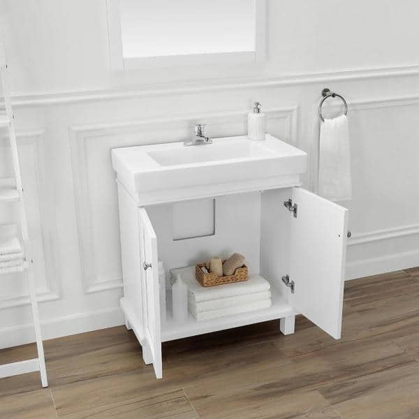 Home Decorators Collection Parkbridge 30 In W X 15 10 In D Vanity In White With Ceramic Vanity Top In White With White Sink Parkbridge 30 The Home Depot