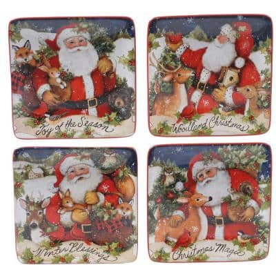 6 in. Magic Of Christmas Santa Multicolored Earthenware Canape Plate (Set of 4)