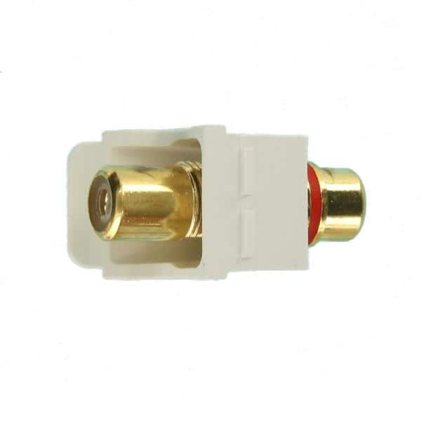 Leviton Quickport Rca Gold Plated Connector Red Stripe White 40830 Bwr The Home Depot