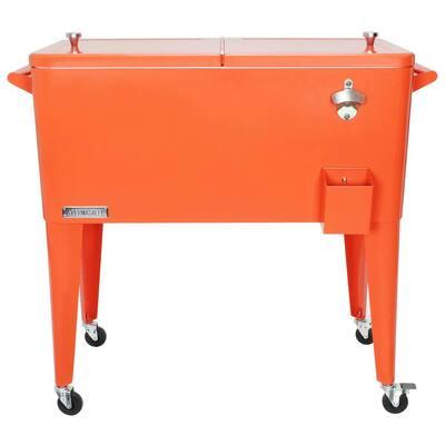 PS-203-ORANGE 80 Quart Portable Rolling Patio Cooler, Orange