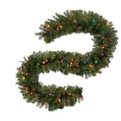 9 ft. Norwood Fir Artificial Garland with 100 Multi-Color Lights