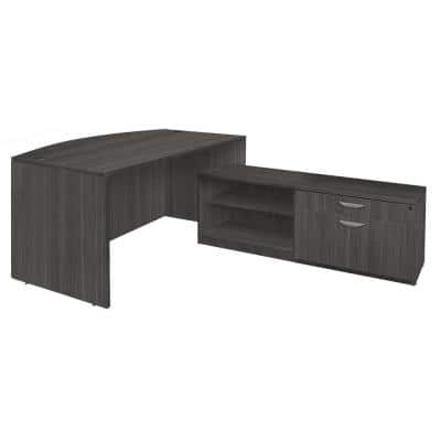 Magons 71 in. Ash Grey Hi-Low Bow Front L-Desk Shell