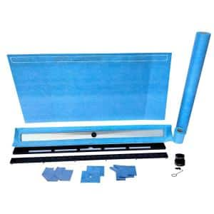 32 in. x 60 in. Linear Wall/End Drain Kit with 54 in. 2-in-1 (Stainless steel/Tile Insert) Black Drain