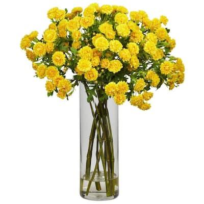 17 in. H Yellow Japanese Silk Flower Arrangement