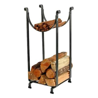 Handcrafted Sling Firewood Rack Hammered Steel