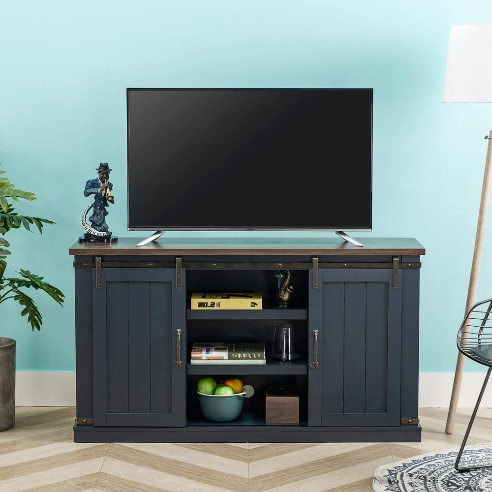 Festivo 54 In Navy Engineered Wood Tv Stand Fits Tvs Up To 60 In With Storage Doors Fts20302 The Home Depot