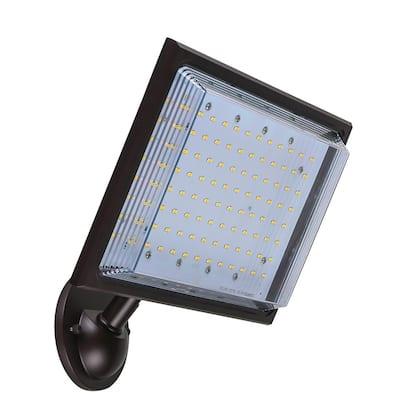46-Watt Bronze Outdoor Integrated LED Street Lamp Flood Light with Dusk to Dawn Control