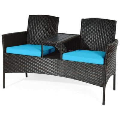 1-Piece Wicker Outdoor Loveseat with Turquoise Cushions and Built-In Table