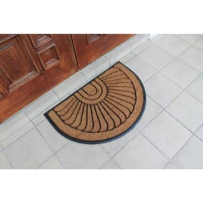 Sunburst Half Moon Tapered Edge Black 24 in. x 36 in. Large Rubber and Coir Mat