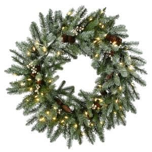 24 in. Feel Real Snowy Morgan Spruce Wreath with 50 Warm White Battery Operated LED Lights with Timer