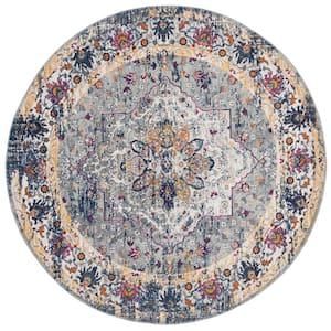 Evoke Gray/Navy 7 ft. x 7 ft. Round Medallion Floral Area Rug