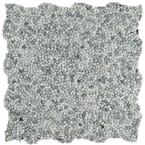 Pebblini Mini White Smoke 12 in. x 12 in. Pebble Stone Mosaic Tile (10.63 sq. ft. / Case)