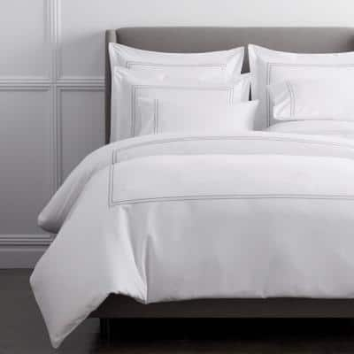 Dorset Stripe Legends Hotel Gray Embroidered 600-Thread Count Egyptian Cotton Sateen Oversized Queen Duvet Cover