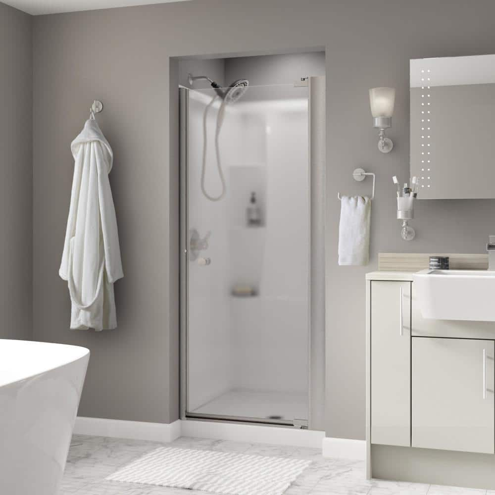 Delta Lyndall 36 In X 64 3 4 In Semi Frameless Contemporary Pivot Shower Door In Nickel With Niebla Glass 2406685 The Home Depot