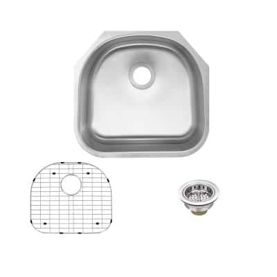 Undermount 16-Gauge Stainless Steel 23 in. D-Shape Single Bowl Kitchen Sink with Grid and Drain Assembly