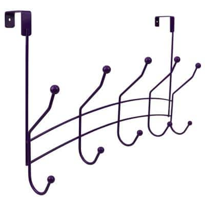 Shelby 18.75 in. Purple 5-Hooks 1 lb. Over The Door Hanging Rack