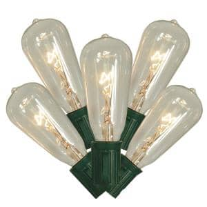 Transparent Clear Edison Style Glass Christmas Light Set with 9 ft. Green Wire (10-Count)