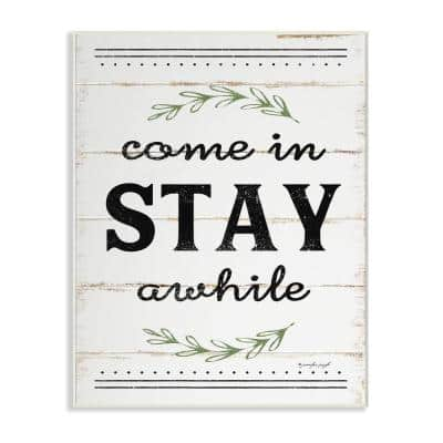 """10 in. x 15 in. """"Come Stay Awhile Rosemary Typography Distressed White"""" by Jennifer Pugh Printed Wood Wall Art"""