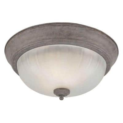 2-Light Desert Stone Flush Mount with Fluted Satin Etched Glass