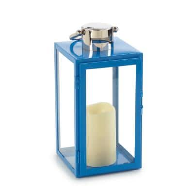 Nemo 11 in. Blue 1-Light Integrated LED Candle Lantern