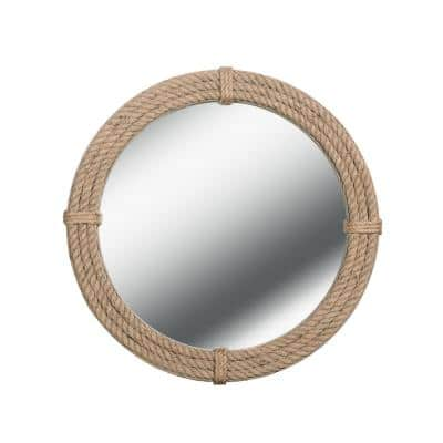 Nilsen 30 in. x 30 in. Brown Circle Framed Glass Wall Mirror