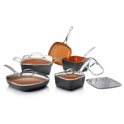 10-Piece Black Non-Stick Ti-Ceramic Square Cookware Set with Lids