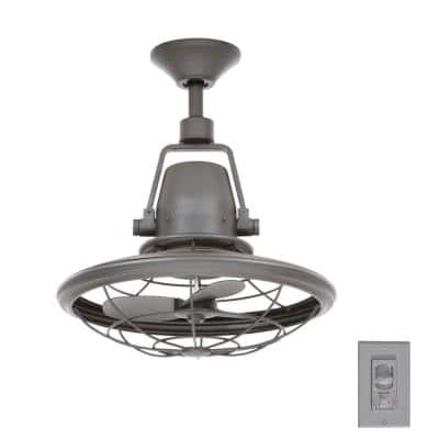 Bentley II 18 in. Indoor/Outdoor Natural Iron Oscillating Ceiling Fan with Wall Control