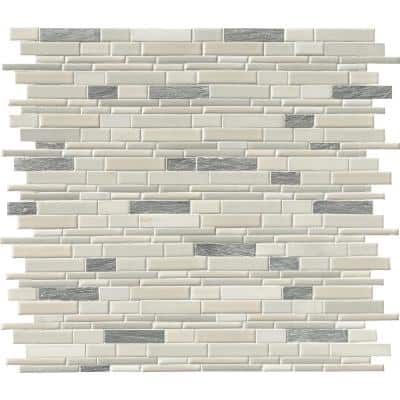 Everest Interlocking 12 in. x 12 in. x 8 mm Multi-Finish Porcelain and Stone Mesh-Mounted Mosaic Tile (1 sq. ft.)