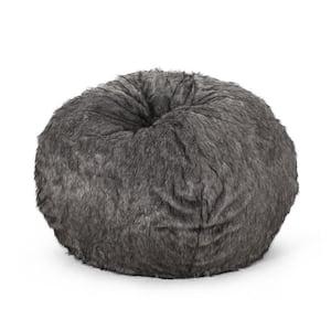 Upson Dark Gray and Light Gray Faux Fur 5-Foot Bean Bag