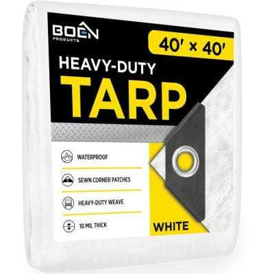 40 ft. x 40 ft. 10 Mill Thick White Poly Heavy-Duty Waterproof, Tarpaulin Great Tarp Cover for Canopy Tent, Boat, RV