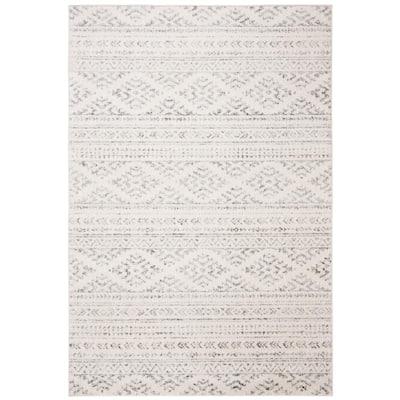 Tulum Ivory/Gray 6 ft. x 9 ft. Striped Tribal Geometric Area Rug