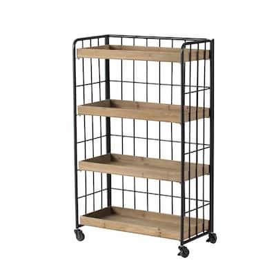41.3 in. Matte Black Natural Metal 4-Shelf Modern Accent Bookcase